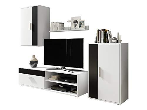 Wohnwand Berno, Schrankwand Anbauwand Wohnzimmerschrank Mediawand Hängevitrine Wandregal TV-Lowboard Kommode (Weiß/Weiß + Schwarz)