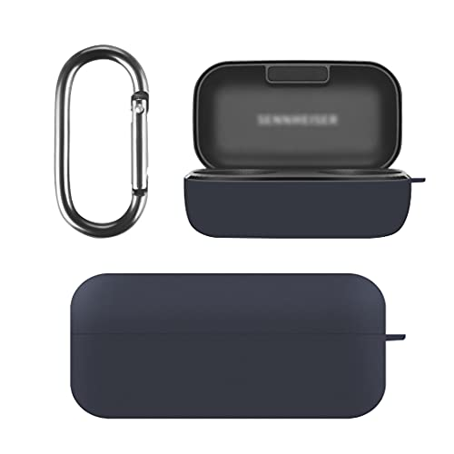 Geekria Silicone Case Cover Compatible with SENNHEISER Momentum True Wireless 2 Earbuds Protective Charger Carrying Case, Wireless Earphones Skin Cover with Keychain Hook (Blue)