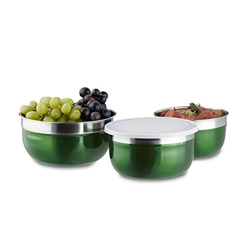 Relaxdays Schüssel Set mit Deckel, 3-teilig, unterschiedlich groß, Edelstahl, Küchenschüsseln, Vorrat, Camping, grün