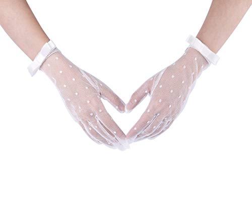 CHIC DIARY Damen Spitze Handschuhe Kurz Hochzeit Brauthandschuh mit Schleife Netzhandschuhe Fasching Party Kostüm Accessoires