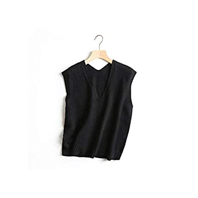 5 Color Women's Sleeveless Solid Casual Knit Vest Female All Match Basic V Neck Loose Sweater One Size,Black,One Size from Perceive DA