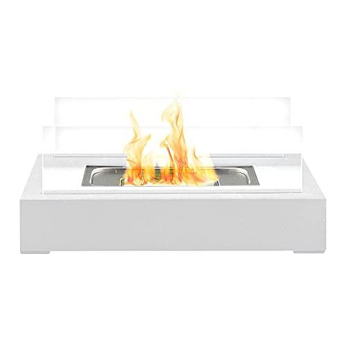 Bio Ethanol Tabletop Fireplace Firebox - Freestanding, Portable, Contemporary Modern Design, Tempered Glass Panes & Rectangle White Base