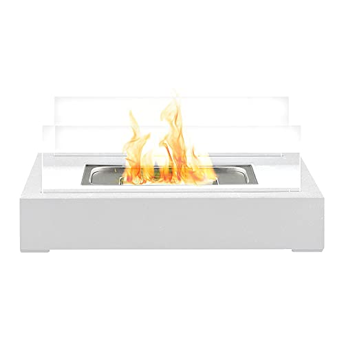 Bio Ethanol Tabletop Fireplace Firebox - Freestanding, Portable, Contemporary Modern Design, Tempered Glass Panes & Rectangle White Base
