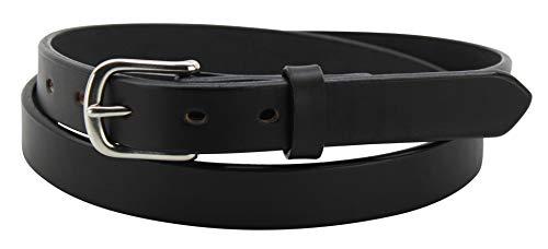 "Men's Black Leather Belt - Non Stitched Adjustable Premium Belts - 1"" Wide, 32"