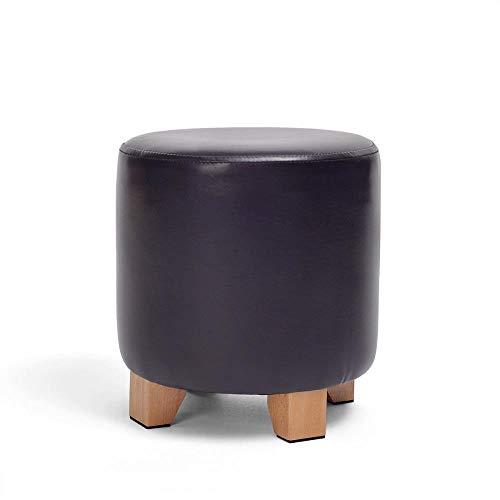 Zitzak, schoenenbank, zitpoef, van leer, met rond deksel, ottomanen, van hout, gestoffeerde been, multifunctioneel, zwart, voor Living Room Heavy Duty Max, 150 kg 29x29cm