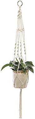 Dylandy Panier à suspendre en corde de macramé pour pot de fleurs en jute naturelle - Décoration d'intérieur ou d'ext