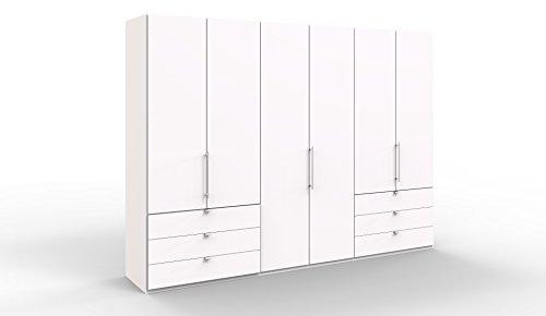 WIEMANN Loft Kleiderschrank, Schlafzimmerschrank, Gleittürenschrank, Drehtürenschrank, mit Schubladen, in weiß, B/H/T 300 x 216 x 58 cm