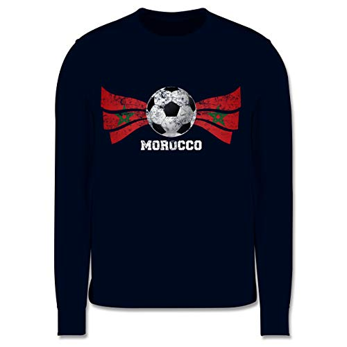Shirtracer Fußball-Europameisterschaft 2020 Kinder - Morocco Fußball Vintage - 104 (3/4 Jahre) - Navy Blau - Marokko - JH030K - Kinder Pullover