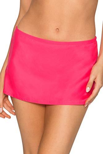 Sunsets Women's Kokomo Swim Skirt Mid Rise Bikini Bottom Swimsuit, Hot Pink, Medium
