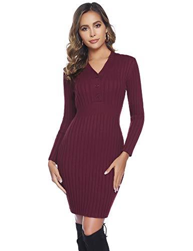 Abollria Abito Aderente Donna Elegante Scollo a V Vestito Invernale a Maglieria Abiti a Coste con Manica Lunga, Rosso Vino, XL