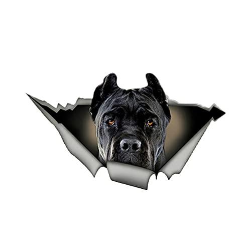 GDYL Autoaufkleber Aufkleber Netter Hund Autoaufkleber Schwarz Cane Corso 3D Zerrissenes Metall PVC Aufkleber wasserdichte Autos Styling Stoßstange PVC 13Cm X 8Cm