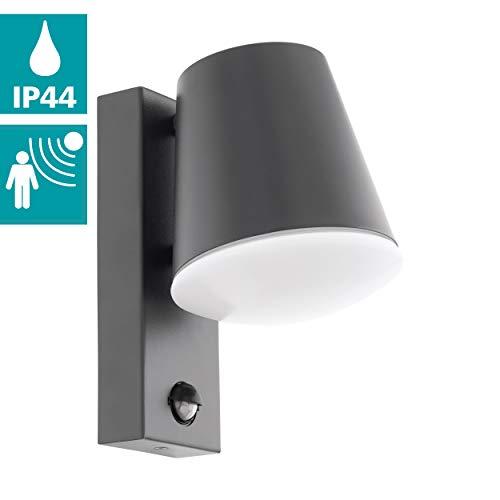 EGLO Außen-Wandlampe Caldiero, 1 flammige Außenleuchte inkl. Bewegungssensor, Sensor-Wandleuchte aus Stahl und Kunststofff, Farbe: Anthrazit, weiß, Fassung: E27, IP44