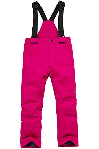 Mädchen Jungen Kinder Winter Warm Outdoor Berg Wasserdicht Winddicht Snowboard Skifahren Jacken Schnee Ski Latzhose Overall Set - Pink - L/Höhe : 125/135 cm