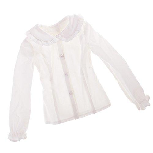 perfk Mooi Poppenhemd, Blouse met Pofmouwen, Poppenkleertjes voor 1/3 BJD Vrouwelijke Poppen Verkleedaccessoires - Wit, zoals beschreven