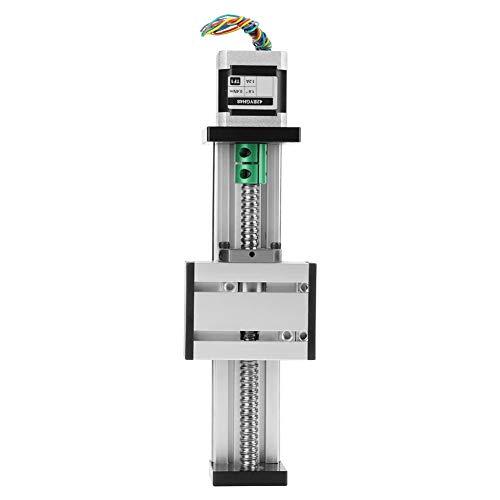 Akozon Tornillo de bola automático Lineal CNC Corredera de deslizamiento Actuador de etapa larga Guía Mesa deslizante Aluminio con motor paso a paso 100 mm Rango efectivo