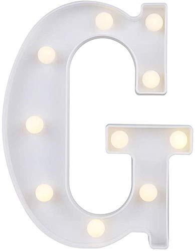 Gspirit LED Marquee Lettera Luci 26 Alfabeto Accendere Cartello Natale Luce otturna Lampada per Nozze Casa Festa Bar Decorazione (G)