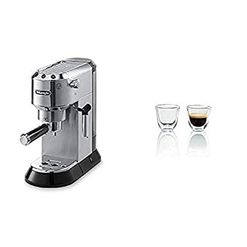 Delonghi EC680M DEDICA 15-Bar Pump Espresso Machine, Stainless Steel & DeLonghi Double Walled Thermo Espresso Glasses, Set of 2