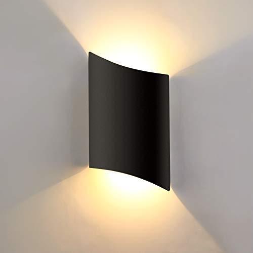 Lightess 16W Aussenwandleuchte LED IP66, Wandleuchte Innen Schwarz Aussenleuchte Up Down Licht Flurlampe aus Aluminiumfür Wohnzimmer Schlafzimmer Flur Treppenhaus Bad, Warmweiss