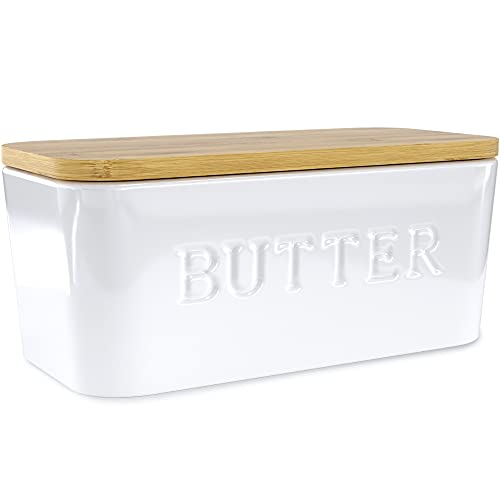 PriorityChef Large Butter Dish with Lid for Countertop, Ceramic Butter Container With Airtight Cover, Butter Keeper for Counter or Fridge, White Butter Holder Storage