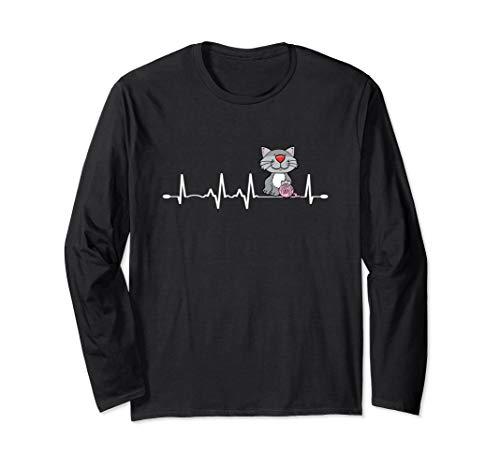 Love Cats & Knitting Heartbeat Design Crochet Knit Yarn Gift Long Sleeve T-Shirt