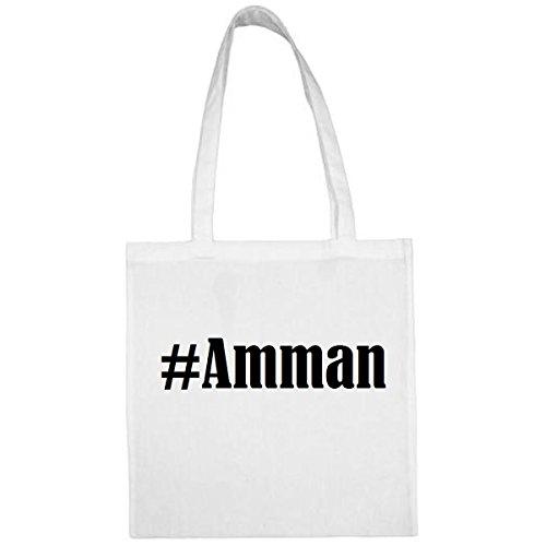 Tasche #Amman Größe 38x42 Farbe Weiss Druck Schwarz