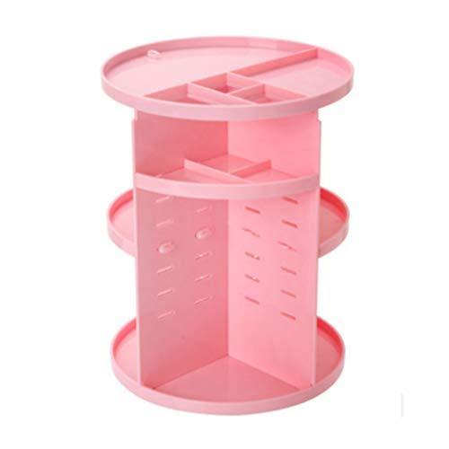 Beaupretty Étagère de Maquillage Support de Cosmétiques Rond Rotatif à 360 Degrés avec Organisateur de Bijoux de Grande Capacité pour Le Stockage (Rose)