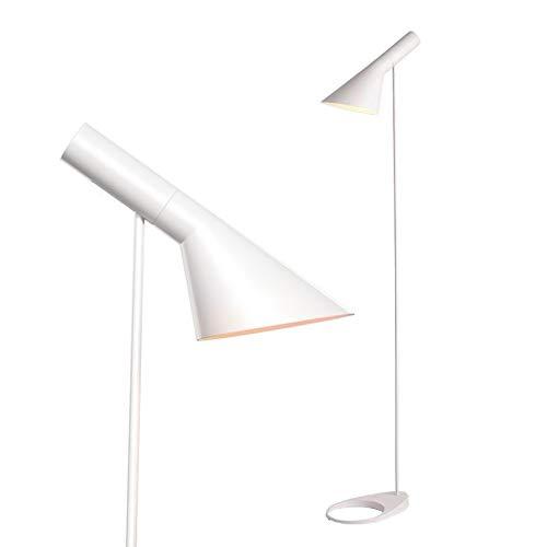 BarcelonaLED Stehleuchte LED Design Modern nordisches Metall weiß mit Fassung E27 Kopf verstellbar Fußschalter für Beleuchtung Innenraum Boden Wohnzimmer Schlafzimmer Studio