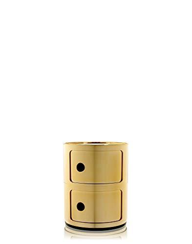 Kartell Componibili Contenitore 2 Elementi, Base Tonda, ABS, Giallo (Oro), 32 x 32 x 40 cm
