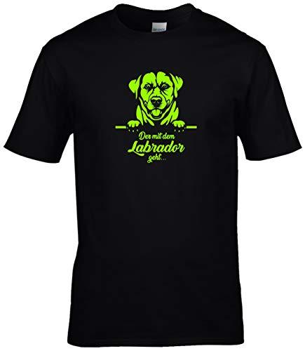 BlingelingShirts Shirt Herren Labrador Der mit dem Labrador geht Hund Labbi Hund, schwarz Druck neon, Gr. XL