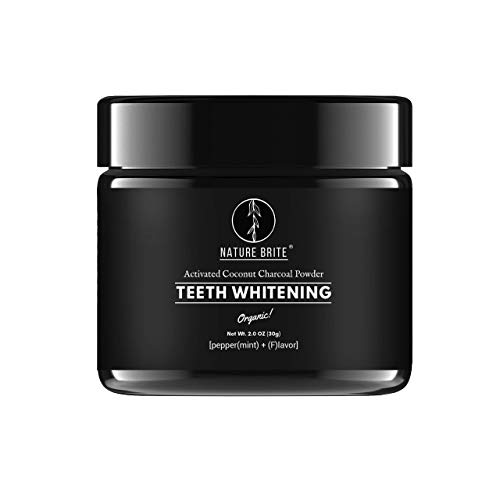 NATURE BRITE Natural Teeth Whitening Powder | Best Organic Coconut Activated Charcoal Powder with Bentonite & Orange Seed Oil | Non-abrasive, Non-toxic & No Preservatives | Fights all types of Stains