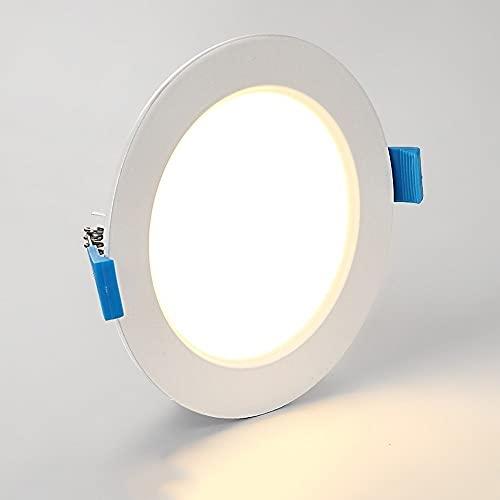 BUNCC Downlight LED Delgado De 9W Instalación De Modernización Simple Para Interiores Luces Empotradas Integradas Hogar Ahorro De Energía Antideslumbrante Techo Empotrado Redondo Panel Plano Luz Hacia