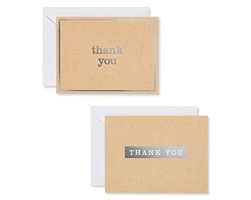 American Greetings Baby-Dankeskarten mit Umschlägen 50-Count Silberfarbener Kraft-Stil.