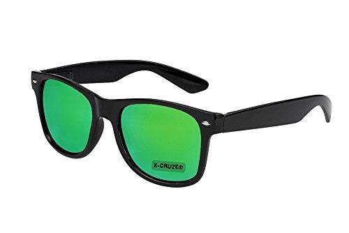 X-CRUZE® 8-107 Nerd Sonnenbrille Unisex Herren Damen Männer Frauen Brille Nerdbrille Retro Vintage - schwarz und grün verspiegelt