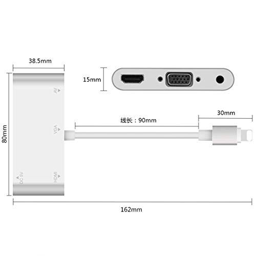 Yiwa HDMI VGA AV 4K Conventor Audio Video Adapter voor iPhone/iPad/iPod aan projector HDTV