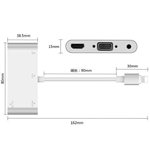 Yiwa HDMI VGA AV 4K Conventor Audio Video Adapter voor iPhone/iPad/iPod aan projector HDTV
