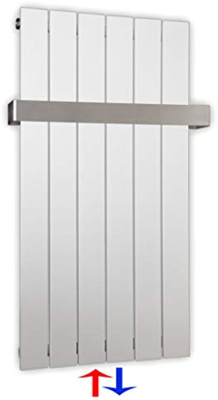 Design Paneelheizkrper Heizkrper Badheizkrper mit Mittelanschluss Handtuchstange Edelstahl alle Gren (0900 x 450, Wei) (425 Watt nach EN442)