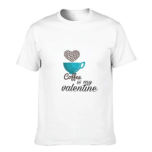 Camiseta de algodón para hombre con texto 'Kaffee ist Mein San Valentín', divertida, elegante, de alta calidad, temática blanco XXXXXXL