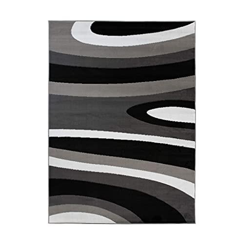 TAPISO Maya - Alfombra Moderna para salón, Color Negro y Gris, Ondulada, Abstracta de Pelo Corto, 140 x 200 cm
