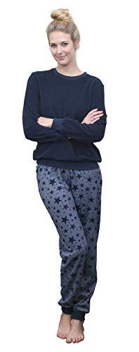 Damen Frottee Pyjama Schlafanzug mit Bündchen –Sterne als Motiv - auch in Übergrößen 93020, Farbe:Marine, Größe2:36/38