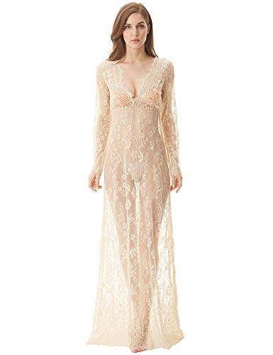 cunlin Women Floor Length Deep-V See Through Floral Lace Gown Maxi Maternity Dress for Photo Shoot