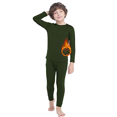 GAZIAR Thermal Underwear for Boys Long Underwear Set Ultra Soft Base Layer Kids Warm Pajamas Long John Set 2 PCS Charcoal Green 4-5Y