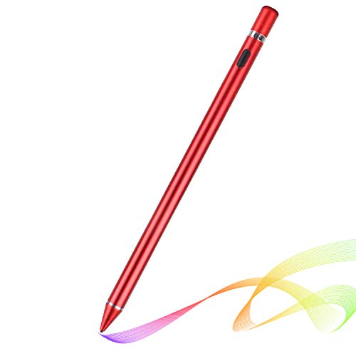 MUYI Active Stylus Touch Pen Prevent Accidental Touch Smart Touch Pen Universal Capacitive Stylus Touch Screen Pen for IOS, Android, Windows (Red)