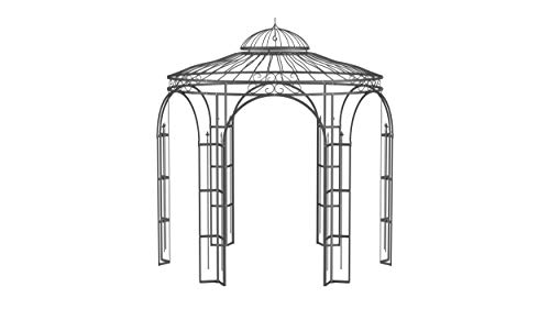 ELEO Milano wunderschöner Gartenpavillon Winterfest I Stabiler Rundpavillon Anthrazit Ø 2,9 m I Romantischer Rosenpavillon aus Schmiedeeisen I Pavillon für Garten