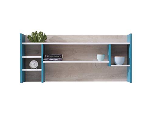Furniture24 Aufsatz Planet PL-11 für den Schreibtisch mit Einlegeböden (Weiß/Eiche/Marine)