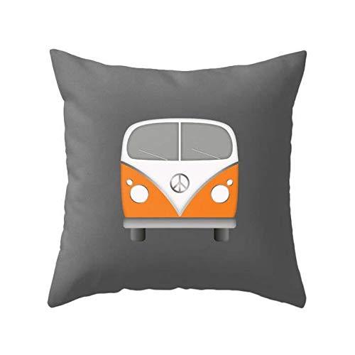 Toll2452 Orange camper van pillow cover retro camper van cushion nursery pillow nursery cushion hipster van illustration campervan pillow