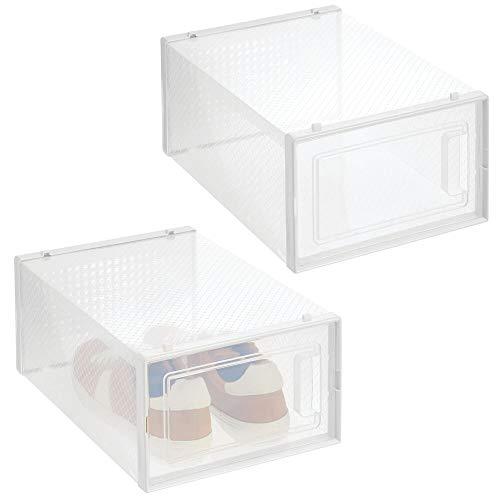 mDesign Juego de 2 Cajas Transparentes para Zapatos – Cajas de plástico apilables con Tapa para Deportivas, Tacones y Botines – Cajas organizadoras para Ahorrar Espacio – Transparente y Blanco