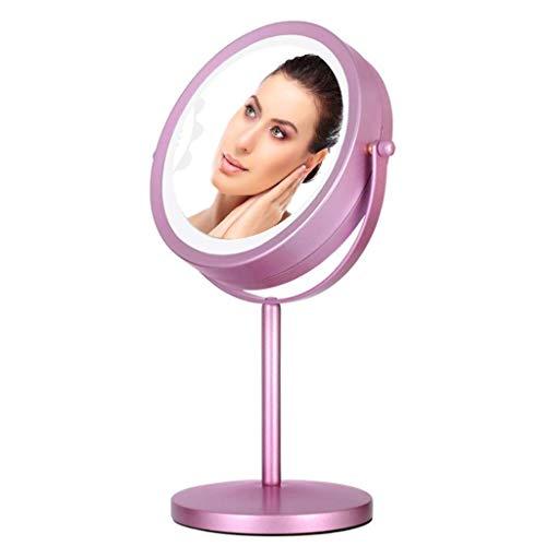 Miroir de Maquillage avec grossissement 3 Fois sur Le Dessus de la Table Lumineuse, Miroir réglable en Hauteur, Miroir de Maquillage beauté, émerillon à 360 degrés, Miroir de Maquillage LED