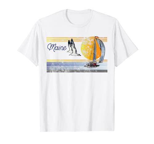 Vintage Sailing Sailboat Sail Retro Sunset Island- Maine T-Shirt