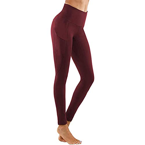 Verano Para Mujer Jogger Deportes Yoga Entrenamiento Gimnasio Fitness Leggings Pantalones Mono Leggings Deportivos Pantalones De Gimnasia Para Correr # J30-Wine_Red_L