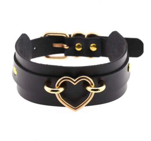 Halsband mit Herz Kette Metall Sklave Schwarz Rot Weiß Bondage SM Farbe Schwarz